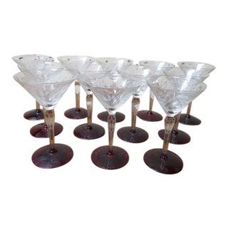 1920s Vintage Antique Etched Champagne Glasses, C1920. - Set of 12 For Sale