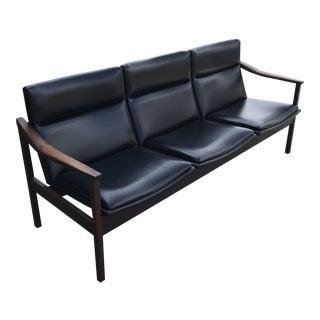 Mid-Century Modern Black Vinyl Danish Three Seat Sofa For Sale