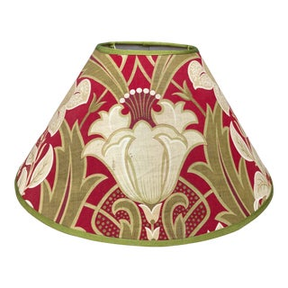 Antique French Green and Red Printed Fabric Lampshade For Sale