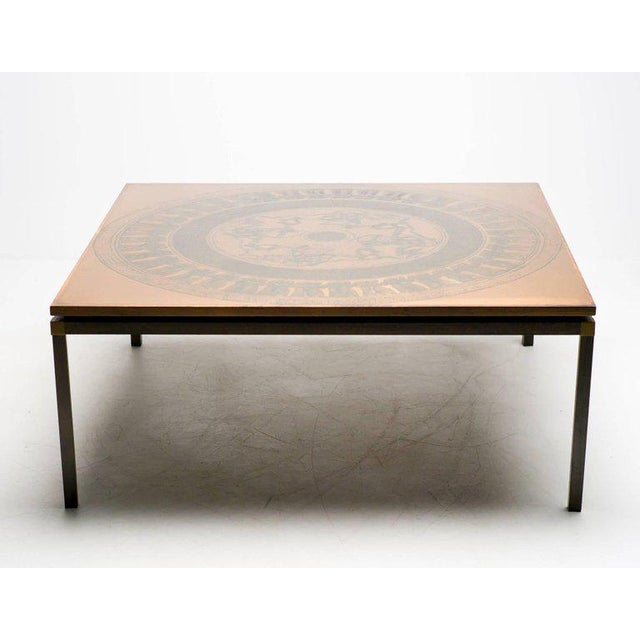 Mid-Century Modern Rosewood and Copper Coffee Table, Denmark, circa 1970 For Sale - Image 3 of 5