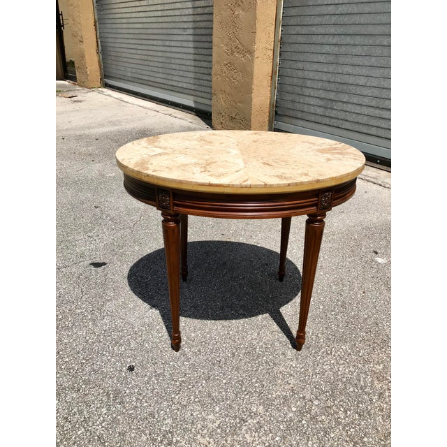 beautiful French XVI Side Table or Accent Table solid mahogany marble top circa 1910s. This is a classic and lovely piece!...