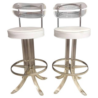 Glamorous Lucite, Chrome and Patent Leather Bar Stools -- A Pair