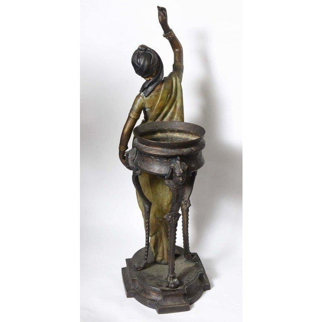 Metal Bronze Orientalist Figural Floor Jardiniere by Peyre For Sale - Image 7 of 11