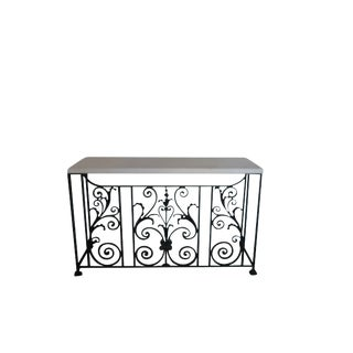 Wrought Iron Marble Top Console Table For Sale