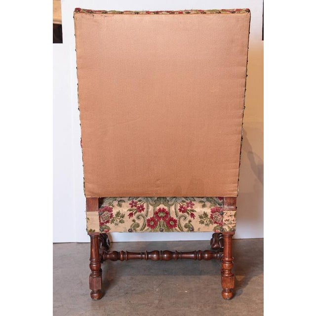 Pair of Antique Louis XIV Style Walnut Wood Armchairs from France For Sale - Image 4 of 8