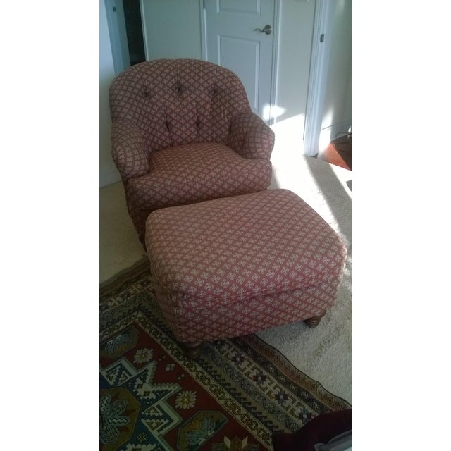 Lineage Home Burgundy Chair & Ottoman - A Pair - Image 5 of 5