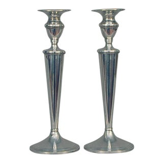 Sterling Silver Spare Design Candlesticks From Gump's - a Pair For Sale
