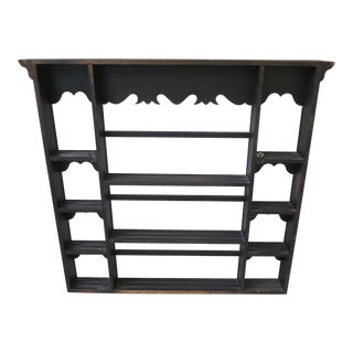 1990s Vintage Black Painted Rubbed Finish Hanging Shelf For Sale