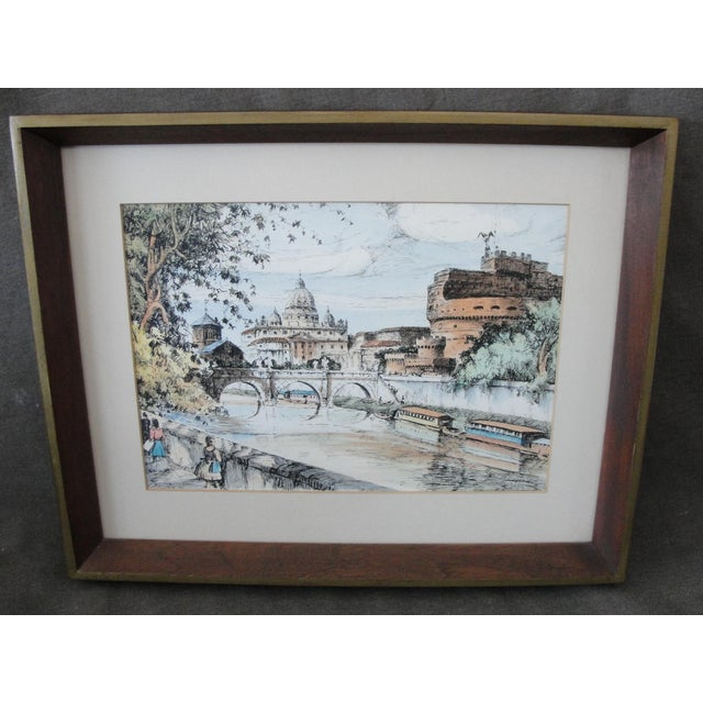 Mid-Century European Watercolor Painting - Image 2 of 7