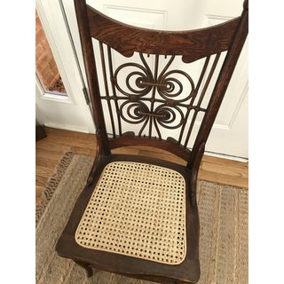 Antique Wicker Cane Wood Butterfly Side Accent Chair Preview
