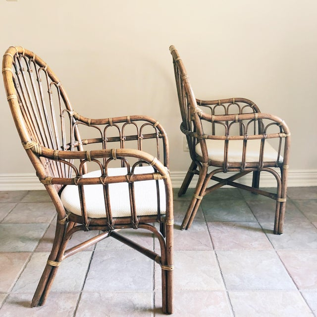 Boho Chic 1990s Vintage Rattan Chairs- A Pair For Sale - Image 3 of 5