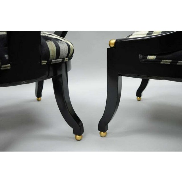 1960s Vintage Michael Taylor Baker Black Lacquer & Gold Spoon Back Slipper Lounge Chairs- A Pair For Sale In Philadelphia - Image 6 of 10