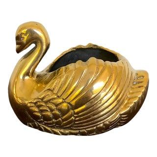 Vintage Brass Swan Planter For Sale