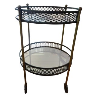 1960's French Iron and Brass Bar Cart After Mathieu Matégot For Sale