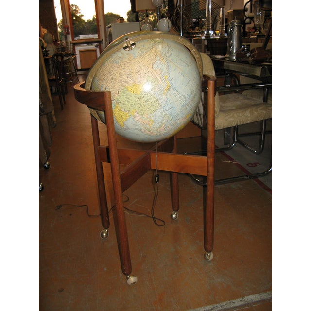 Jens Risom Sculptural Walnut Globe on Casters For Sale - Image 9 of 11