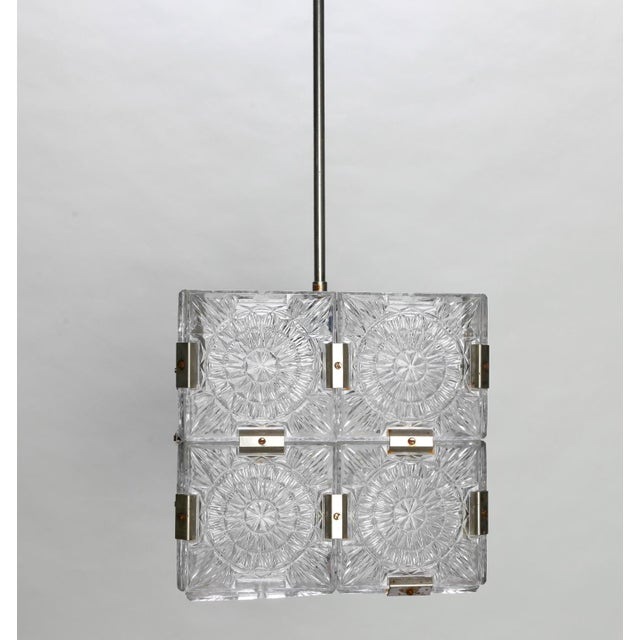 Mid-Century Modern Mid Century Glass Cube Pendant Light in the Style of Kalmar For Sale - Image 3 of 7