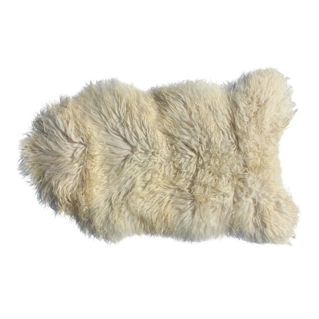 Contemporary Icelandic Sheepskin Shade of White Rug Throw For Sale