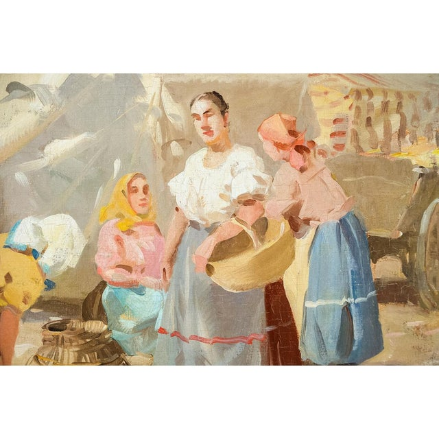 Gyula Nemeth -Women at an Outdoor Market- Hungarian Oil Painting C.1910 For Sale - Image 5 of 8