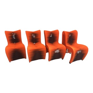 Modern Phillips Collection Orange Seat Belt Dining Chairs - Set of 4 For Sale
