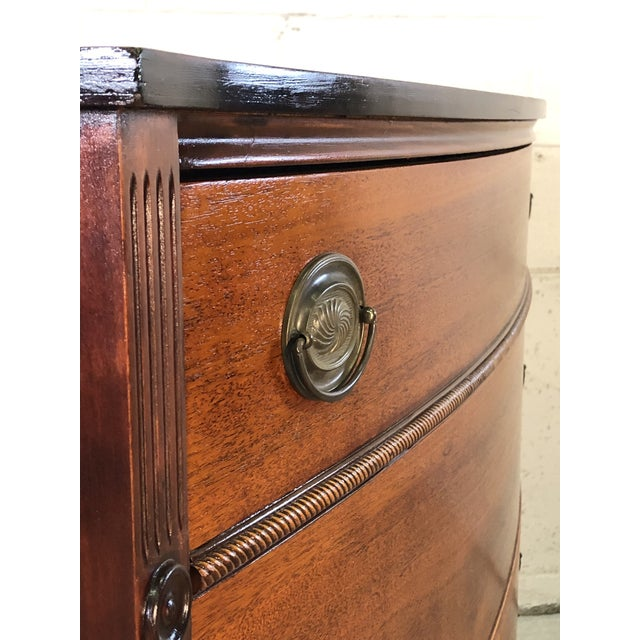 Vintage Mahogany Bow Front Low Dresser For Sale - Image 9 of 11