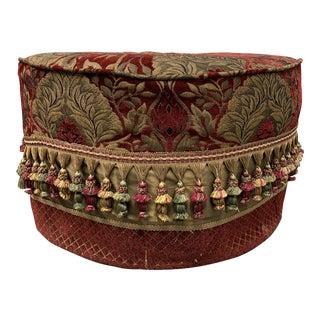 Custom Round Tufted Ottoman + Fringe For Sale