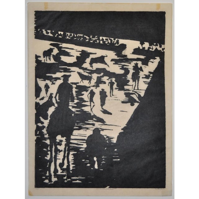 """Mid Century """"Don Quixote at the Paseo"""" Woodcut by Michael Christiana C.1961 For Sale - Image 10 of 11"""