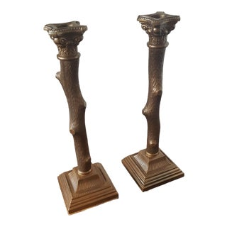 Candle Stick Holders Twig Design - a Pair For Sale