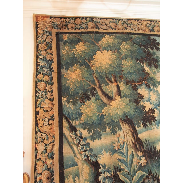 Verdure Tapestry with a Chateau and Fountain For Sale - Image 4 of 10