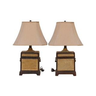 Campaign Style Table Lamps With Shades, a Pair For Sale