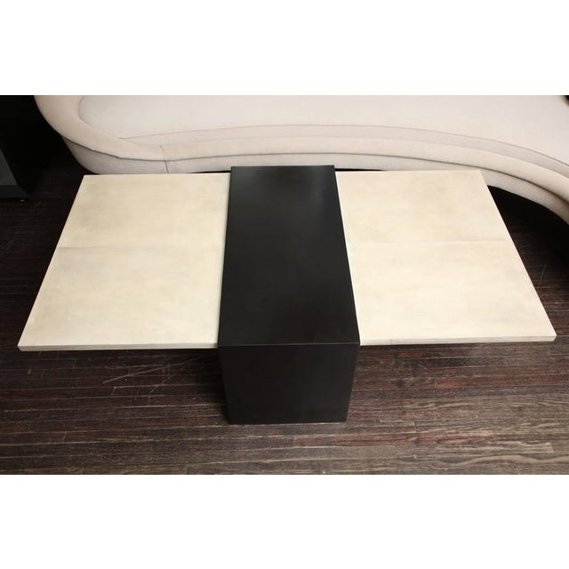 Modern Custom Goatskin Two-Tone Cocktail Table For Sale - Image 3 of 10