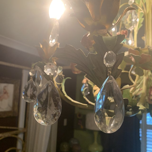 Green Iron Floral Chandelier For Sale - Image 4 of 13