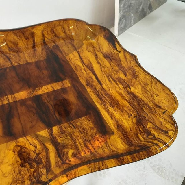 Exceptionally Large Tortoise Acrylic Tray on Fortuny Silk Covered Stand For Sale - Image 4 of 6