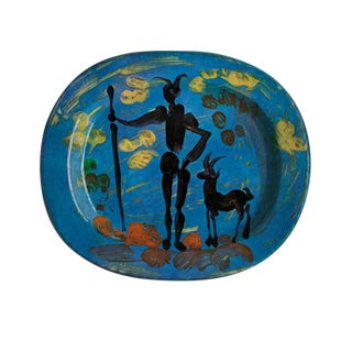 1955 After Pablo Picasso Satyr and Faun Ceramic Plate, Original Period Swiss Lithograph For Sale