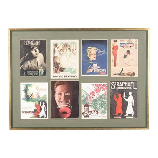 1960s French Mid-Century Advertising Posters in Wooden Frame For Sale
