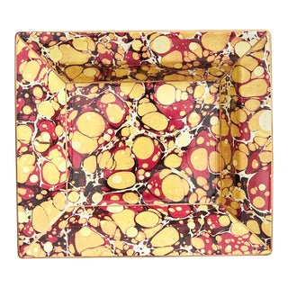 Gold and Red Marble Pattern Desk Tray For Sale