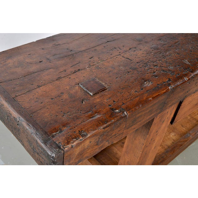 Brown 19th Century French Carpenters Workbench Table For Sale - Image 8 of 13