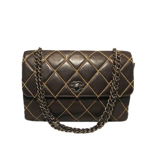 Chanel Brown Leather Maxi Flap Topstitch Classic Shoulder Bag For Sale