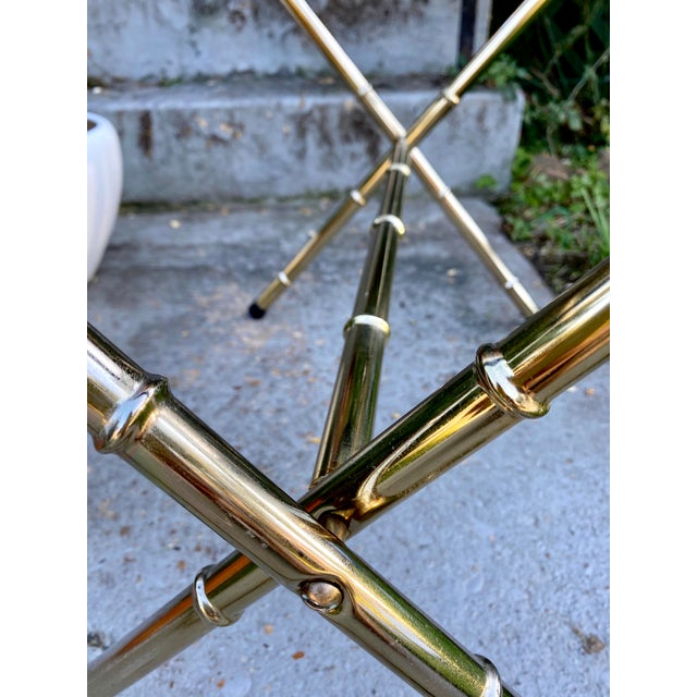 Brass 1970s Mid-Century Faux Bamboo Brass Luggage Rack. For Sale - Image 8 of 11