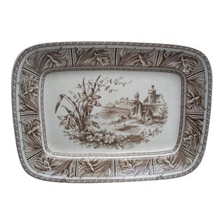 English Brown & White Transfer Platter For Sale