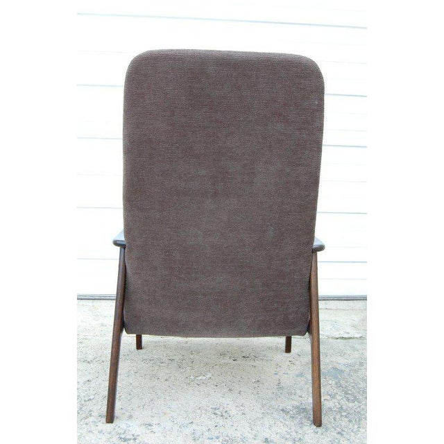 Vintage Swedish Modern Chenille Lounge Armchair For Sale - Image 4 of 9