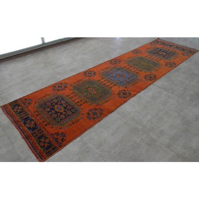"Distressed Oushak Rug Runner - 3'1"" x 11'4"" - Image 3 of 10"