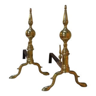 Antique American Brass Andirons - A Pair