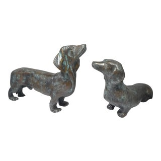 Maitland Smith Bronze Dachshund Dogs - a Pair For Sale