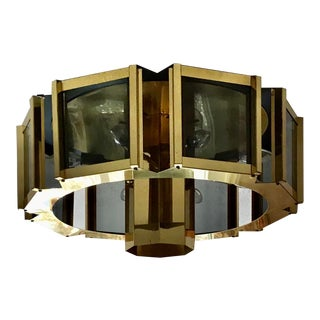 Large 1960s Mid Century Modern Frederick Ramond Brass and Smoked Glass Octagon Light Fixture For Sale