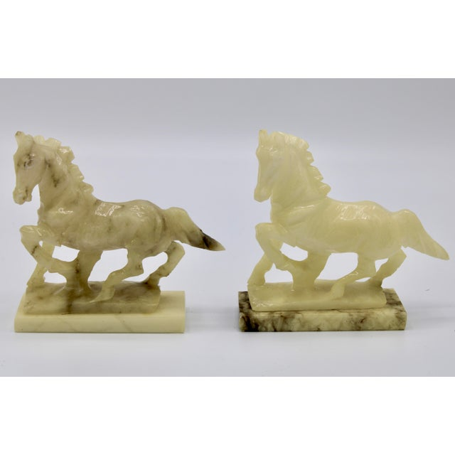 Mid-20th Century Italian Alabaster Mantle Horse Bookends - a Pair For Sale - Image 12 of 13