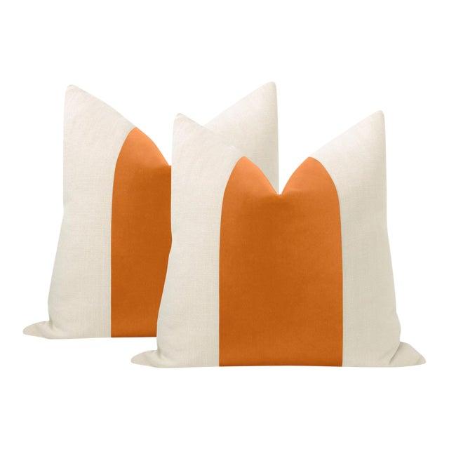 """22"""" Hermes Orange Italian Velvet Panel & Linen Pillows - a Pair For Sale"""