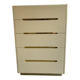 1980s Lane Lacquer and Brass Highboy Dresser For Sale