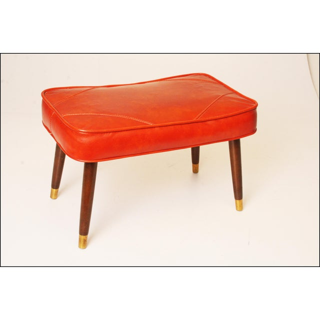 Mid-Century Modern Orange Vinyl Foot Stool - Image 7 of 11