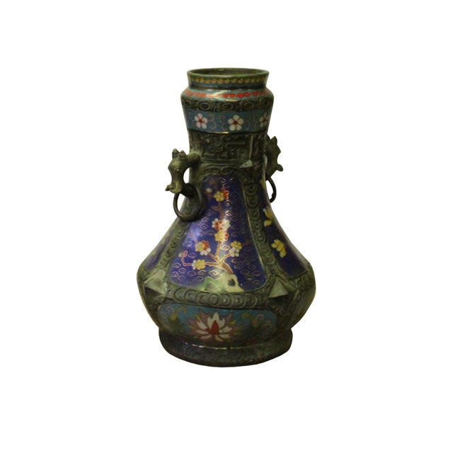 Chinese Chinese Metal Blue Enamel Cloisonne Flowers Theme Vase Display For Sale - Image 3 of 7