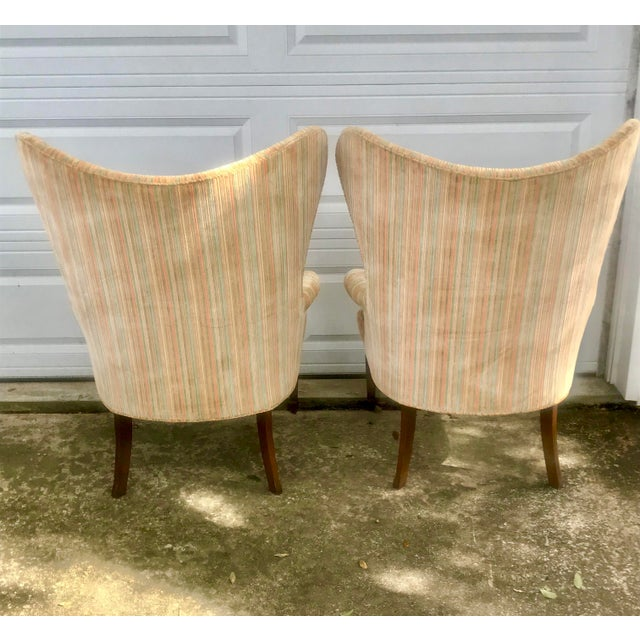 Blue Mid-Century Modern Rainbow Velveteen Wingback Chairs - a Pair For Sale - Image 8 of 13